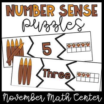 Number Sense Puzzles-November Math Centers, Thanksgiving Activities