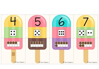 Number Sense Puzzles - Popsicle Theme