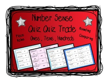 Place Value, Rounding, Comparing: Quiz and Trade 3 Games - Ones, Tens, Hundreds