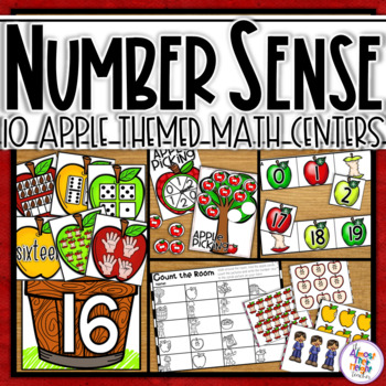 Apple Math Centers for Number Sense / Recognition Activities for 0-20