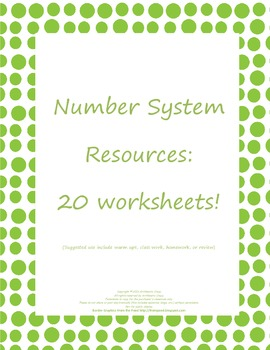 Number Sense Resources: Homework/Review: Common Core Aligned: 6.NS