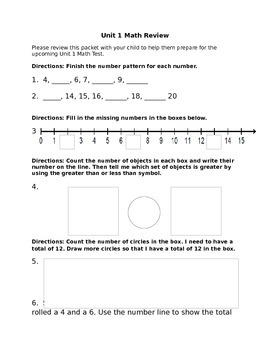 Number Sense Review Worksheet
