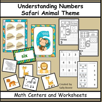 Numbers - Counting, Matching, Number Words - Safari Animals