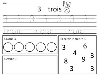 Number Sense Sheets 1-10 (in French)
