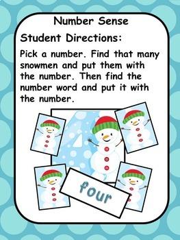 Understanding Numbers Snowman Christmas Theme