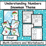 Numbers - Counting, Matching, Number Words - Snowman Christmas Theme