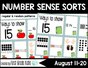 Number Sense Sorts August or Back to School (11 to 20)