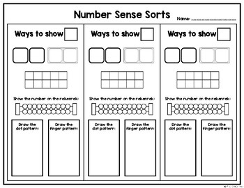Number Sense Sorts for September (0 to 10)