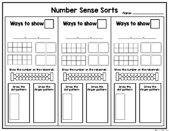 Number Sense Sorts for January (11 to 20)