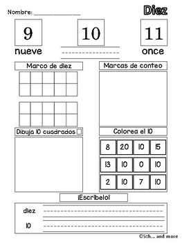 Number Sense- Numbers 1 to 10 (Spanish Version Only)