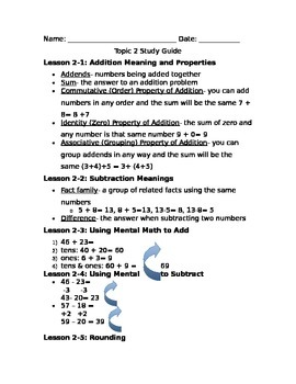 Number Sense Study Guide
