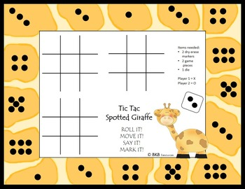 Number Sense/Subitizing Tic Tac Toe Board Game