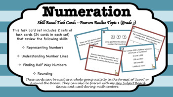 Number Sense Task Card - Pearson Realize enVisions, Topic 1,  Grade 3