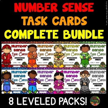 Differentiated First Grade Math Centers (Number Sense Task Cards)