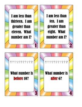 Number Sense Task Cards - Mystery Number, Before, After, In Between