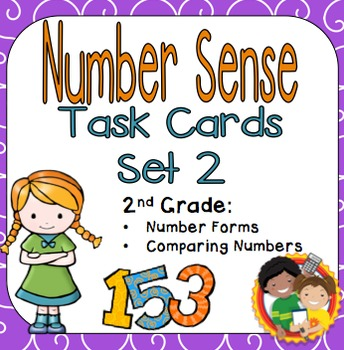Number Sense Task Cards Set 2 for 2nd Grade