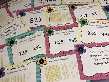 Number Sense Task Cards for Primary Grades: Place Value and More