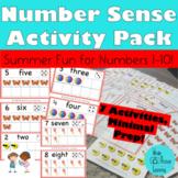 Number Sense Ten Frame Pack:  Summer Fun! Numbers 1-10