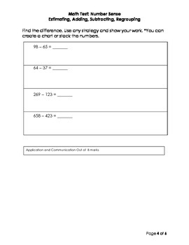 Number Sense Test and Rubric