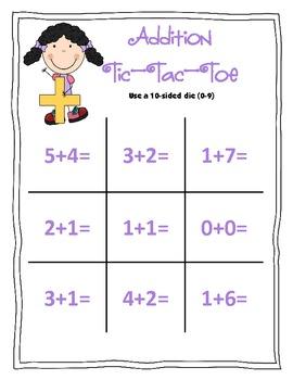 Number Sense: Tic-Tac-Toe FUN with a die