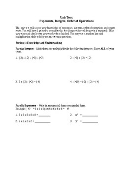 Number Sense Test Modified - Integers, Exponents, Sq Roots & Order of Operations