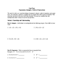 Number Sense Test Modified - Integers, Exponents, Sq Roots