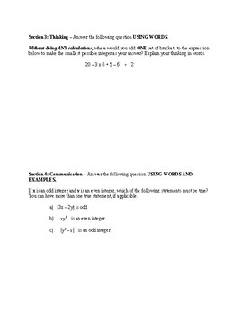 Number Sense Unit Test - Integers, Exponents, Square Root & Order of Operations