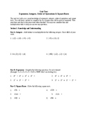 Number Sense Unit Test - Integers, Exponents, Square Root