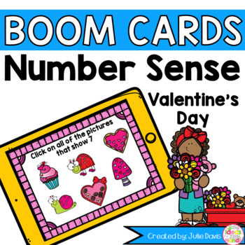 Number Sense Valentine's Day Counting Activity Boom Cards Game