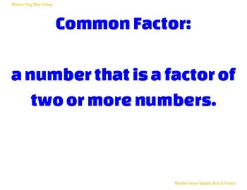 Number Sense Vocabulary Posters