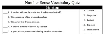 Number Sense Vocabulary Quiz - Factors, Multiples, Prime & Whole Numbers