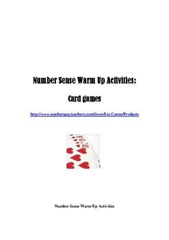 Number Sense Warm Up Activities: Card Games