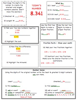 Number Sense Warm Up for 6th Grade Common Core Math