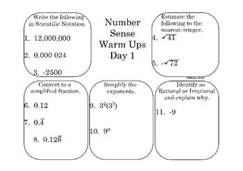 Number Sense Warm Ups