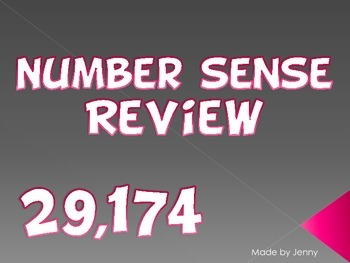 Number Sense Warm-up/Review by JennyG