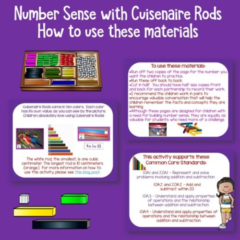 Number Sense With Cuisenaire Rods Freebie