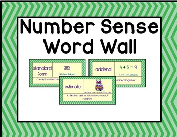 Illustrated Number Sense Word Wall