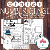 Winter Themed Number Sense Worksheets. Black and White