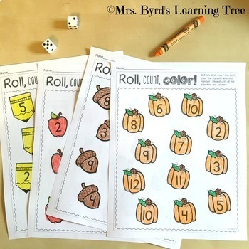 Number Sense activities - Roll, Count, Color All year long!