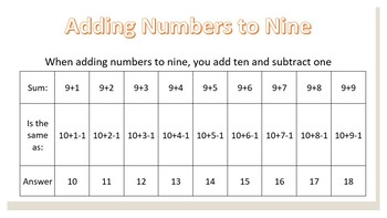 Number Sense (adding to 9, Rainbow facts, Making easy numbers)