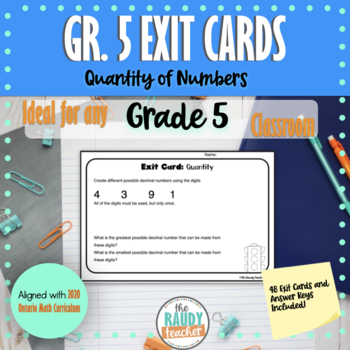 Number Sense and Numeration Exit Cards Grade 5 Edition