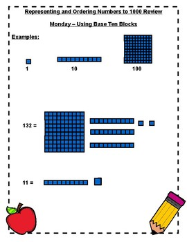 Number Sense and Numeration - Representing and Ordering Numbers to 1000 - Review