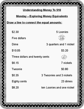 Number Sense and Numeration - Understanding Money to $10 - Review