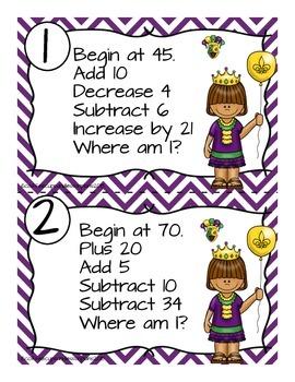 Mental Math Number Sense and Operations Task Cards- MARDI GRAS