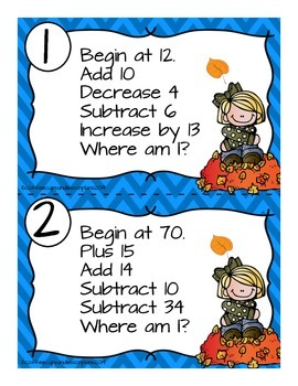 Mental Math Number Sense and Operations Task Cards- FALL THEME
