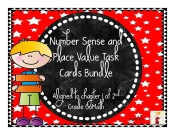 Number Sense and Place Value Task Cards Bundle: Aligned to 2nd Grade Go Math