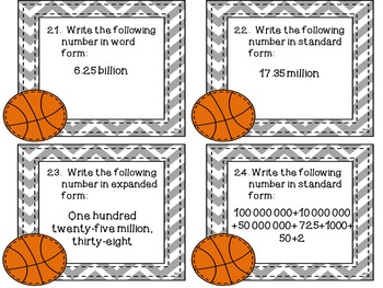Number Sense to the Billions Task Cards