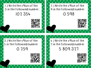 Number Sense to the Thousandths Place QR Code Task Cards