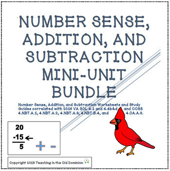 Number Sense up to 9 digits and Addition and Subtraction Mini-Units BUNDLE