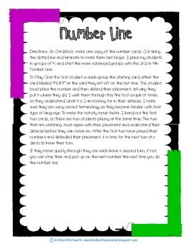 Number Sense with Number Lines